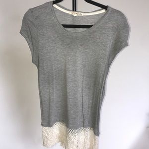 Rewind gray tee shirt with lace at bottoms
